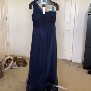 Navy One Shoulder Formal Dress